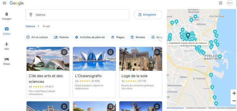 google travel - recherche Valence